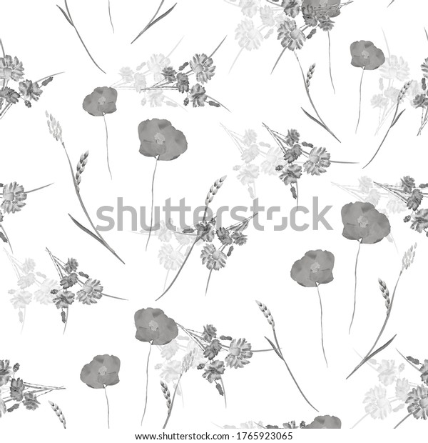 Seamless pattern of small wild spring gray flowers on a white background. Watercolor