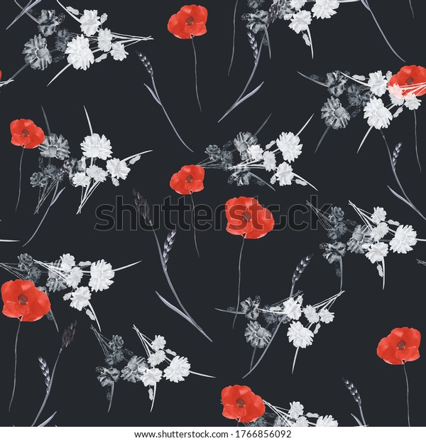 Seamless pattern of small wild spring red poppies and white flowers on the black background. Watercolor