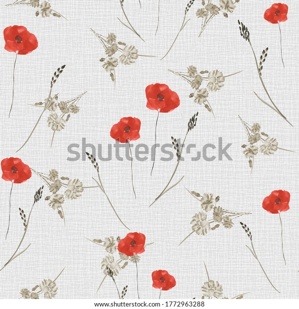 Seamless pattern of small wild spring red and beige flowers on the beige linen background. Watercolor