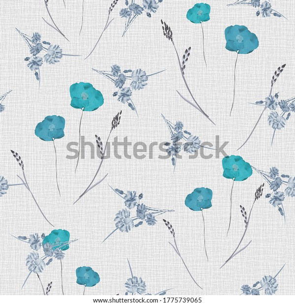 Seamless pattern of small wild spring  blue flowers on the light beige linen background. Watercolor