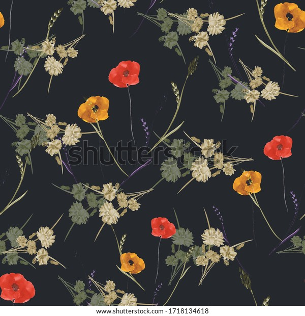 Seamless pattern of small, wild summer red, orange, beige flowers on the black background. Watercolor.