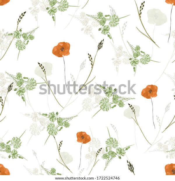 Seamless pattern of small, wild, summer orange and green flowers on a white background. Watercolor.