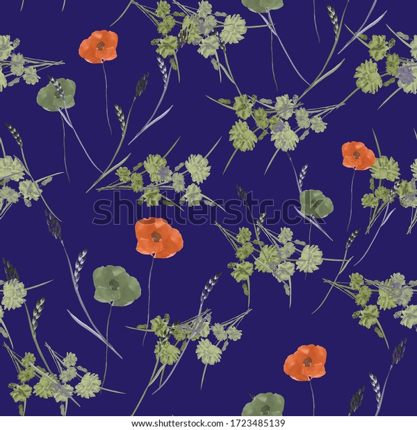 Seamless pattern of small, wild, summer orange and green flowers on a dark violet background. Watercolor.