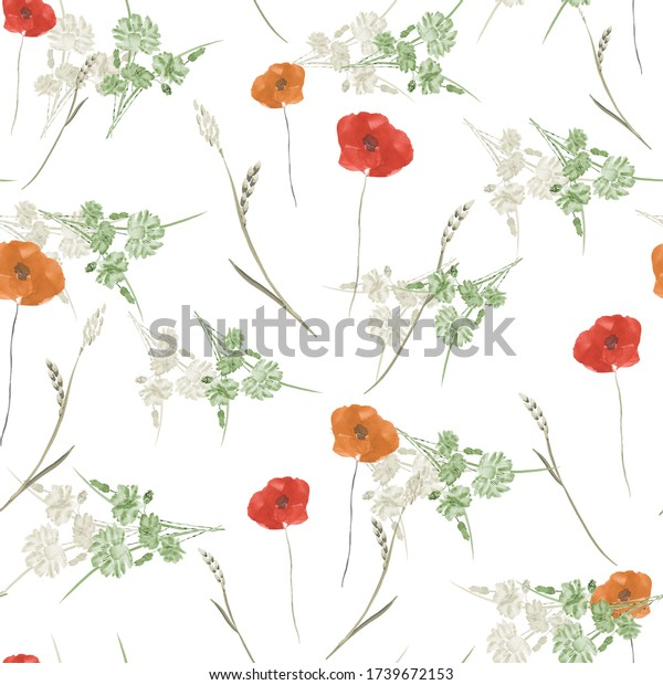 Seamless pattern of small wild summer red and orange flowers on a white background. Watercolor.