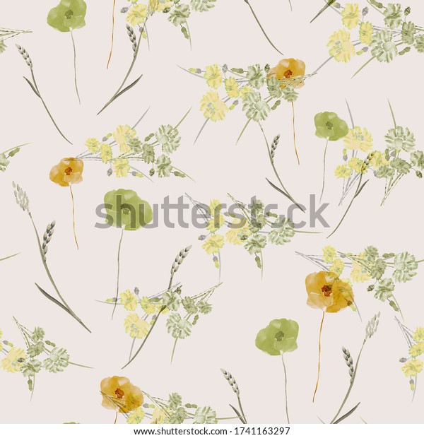 Seamless pattern of small, wild, summer green and orange flowers on a light pink background. Watercolor.