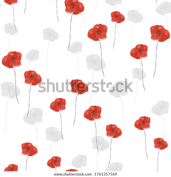 Seamless pattern of small wild summer red and gray poppy's flowers on a white background. Watercolor
