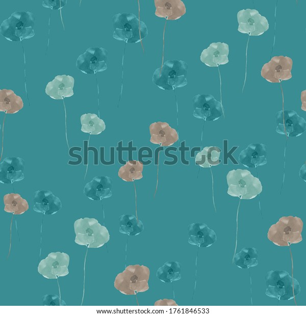 Seamless pattern of small wild summer beige and green flowers on a dark turquoise background. Watercolor