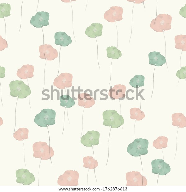 Seamless pattern of small wild summer orange and green flowers on the light yellow background. Watercolor