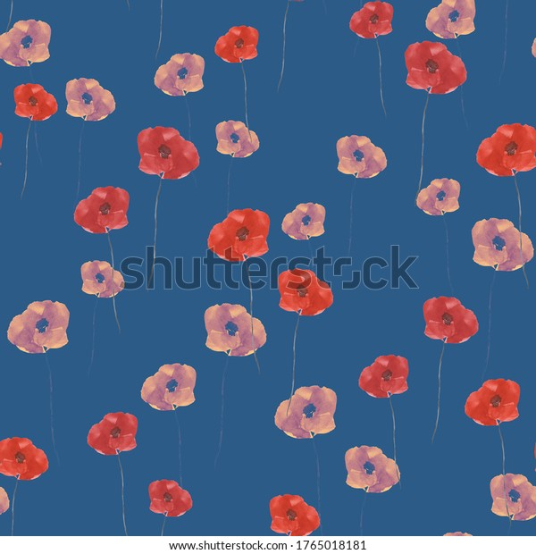 Seamless pattern of small wild summer red and pink flowers on the dark blue  background. Watercolor