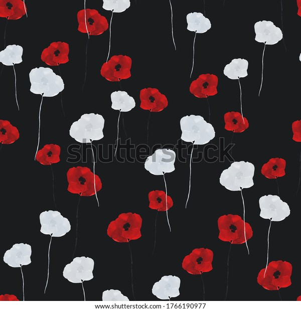Seamless pattern of small wild summer red and white flowers on the black  background. Watercolor