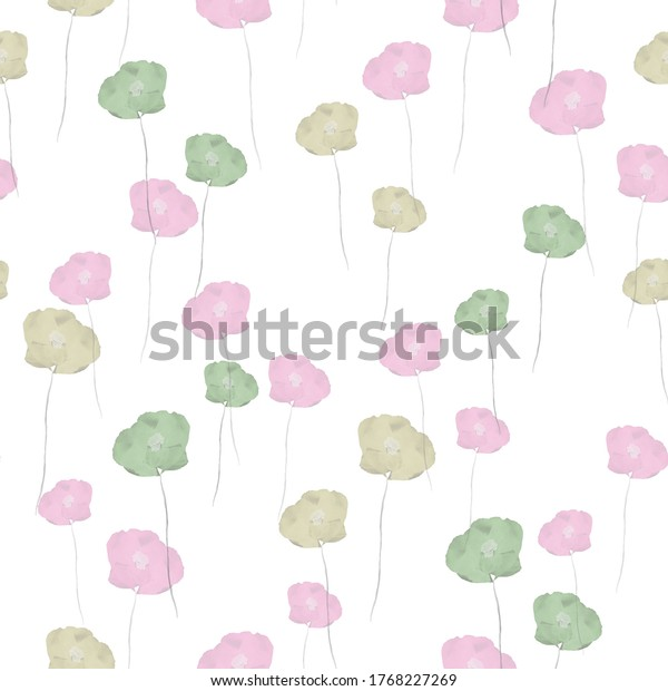 Seamless pattern of small wild summer pink and green flowers on a white background. Watercolor