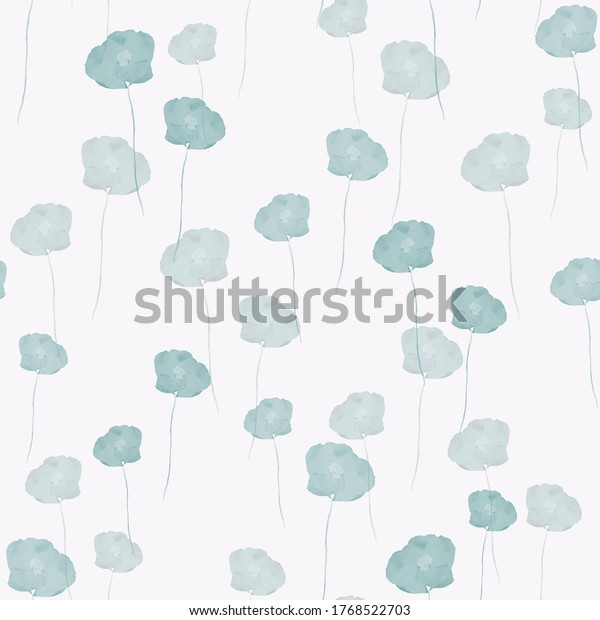 Seamless pattern of small wild summer turquoise flowers on the light pink background. Watercolor