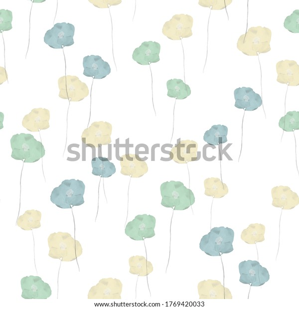 Seamless pattern of small wild summer yellow and green flowers on a white background. Watercolor