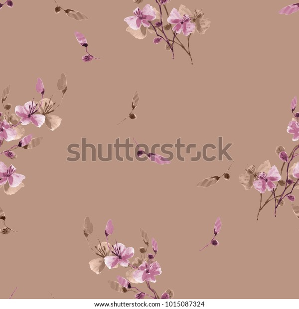 Seamless pattern small wild violet and beige flowers on a deep beige background. Watercolor.