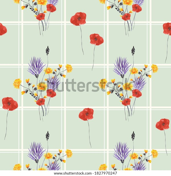 Seamless pattern of small, wild violet, yellow and red flowers in a white cell on a green background. Watercolor