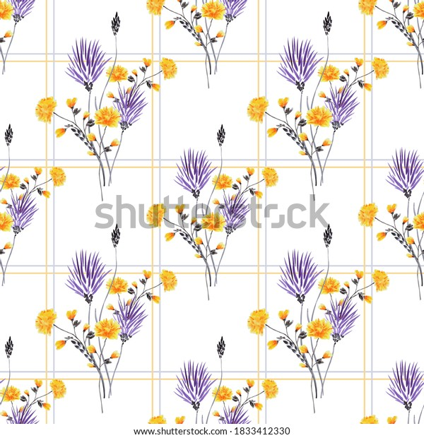 Seamless pattern of small, wild violet, yellow flowers in a yellow and gray cell on a white background. Watercolor