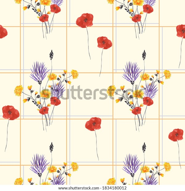 Seamless pattern of small, wild violet, yellow flowers and red  poppies in a orange cell on a light yellow background. Watercolor