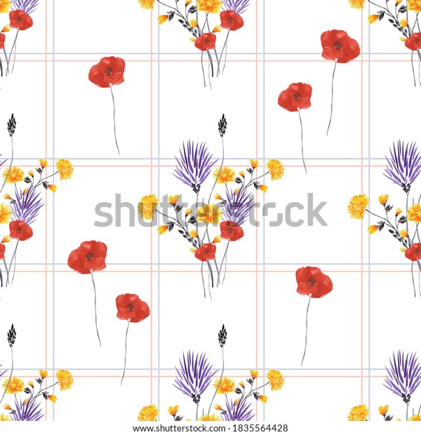 Seamless pattern of small, wild violet, yellow flowers and red poppies in a gray cell on a white background. Watercolor