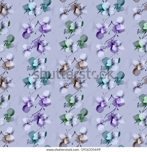 Seamless pattern small wild violet, green and gray  branchs of flowers on a dark violet background. Watercolor