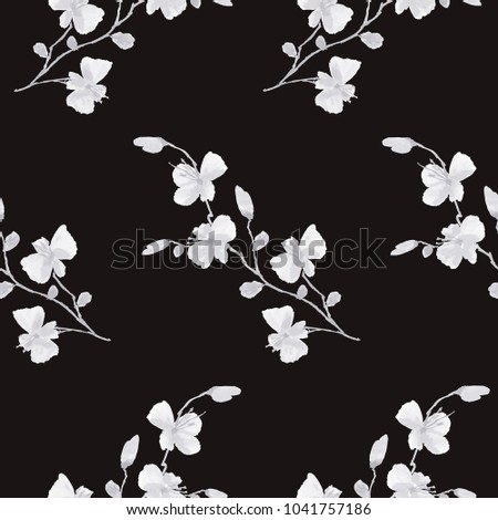 Seamless pattern small wild white flowers on the black background. Watercolor