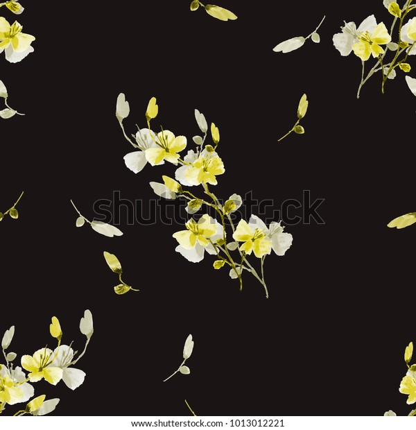 Seamless pattern small wild yellow flowers on the black background. Watercolor.