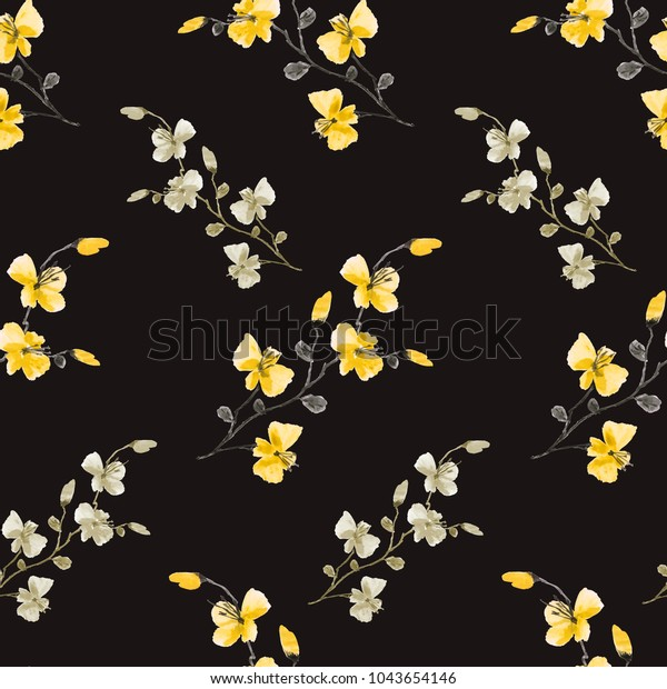 Seamless pattern small wild yellow and beige flowers on the black background. Watercolor -A