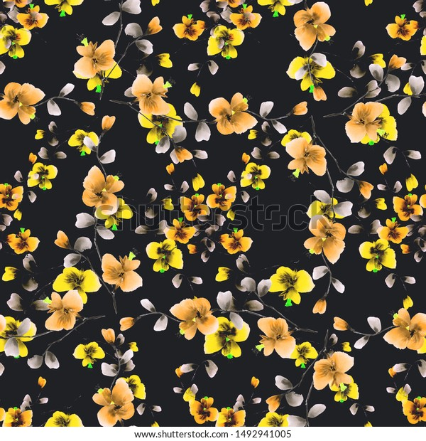 Seamless pattern of small wild yellow and orange flowers on the black background. Watercolor -5