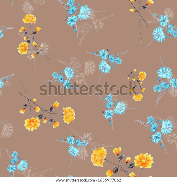 Seamless pattern of small, wild  yellow and turquoise flowers on a dark beige background. Watercolor