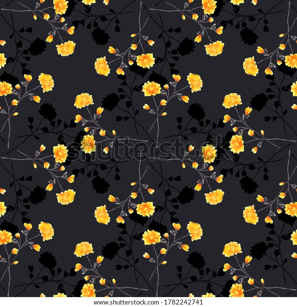 Seamless pattern small wild yellow and dark flowers on the black background. Ornament. Watercolor -B