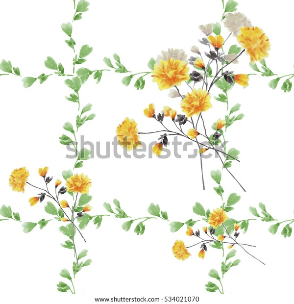 Seamless pattern small yellow flowers and bouquets and green branches on a white background. Watercolor