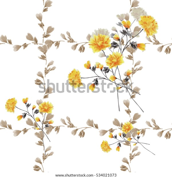 Seamless pattern small yellow flowers and bouquets and beige branches on a white background. Watercolor