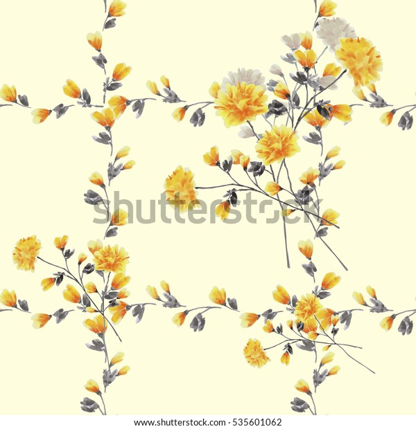 Seamless pattern small yellow flowers and bouquets and yellow branches on a light yellow background. Watercolor