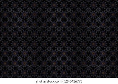 Seamless pattern with snowflakes. Winter weather. Abstract snowstorm with brown, blue and violet snowflakes. Winter mood background. Blow snow texture pattern on black background. Winter background.