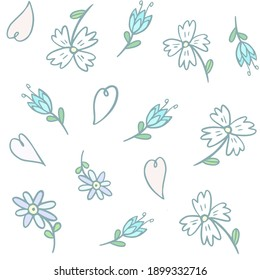 Seamless pattern with spring flowers, hearts. Hand drawing. Digital illustration.