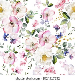 Seamless pattern with spring flowers and leaves. Hand drawn background.  floral pattern for wallpaper or fabric. Flower rose. Botanic Tile.