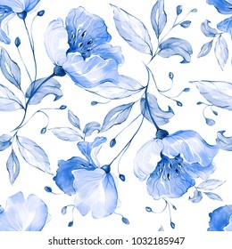 white wallpaper blue flowers