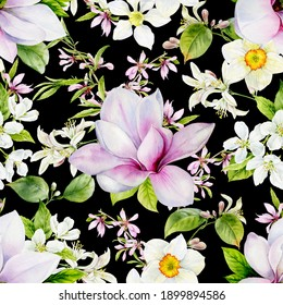 Seamless pattern. Spring flowers of magnolia, lemon, daffodil, almond are painted in watercolor on a black background.