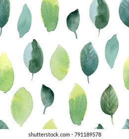 Seamless pattern with spring leaves. Hand drawn watercolor illustration. Isolated on white background