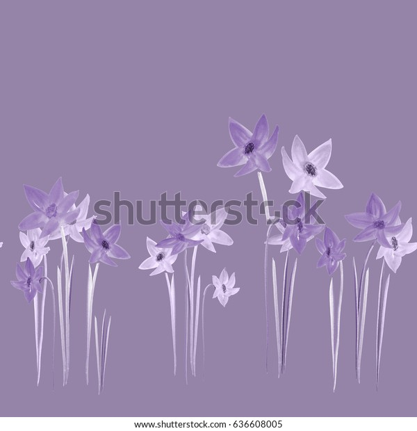 Seamless pattern of spring violet flowers on a deep violet background. Watercolor