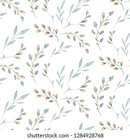 Seamless pattern with spring willow flowers and leaves. Easter Hand drawn background with pussy-willow branch. floral pattern for wallpaper or textile