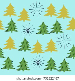 Seamless pattern  of spruce Christmas. Hand drawn.