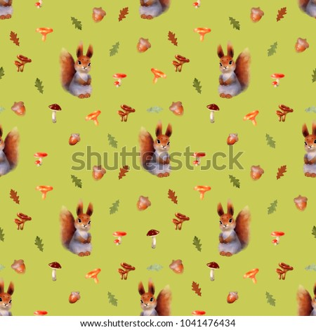 Royalty Free Stock Illustration Of Seamless Pattern Squirrel