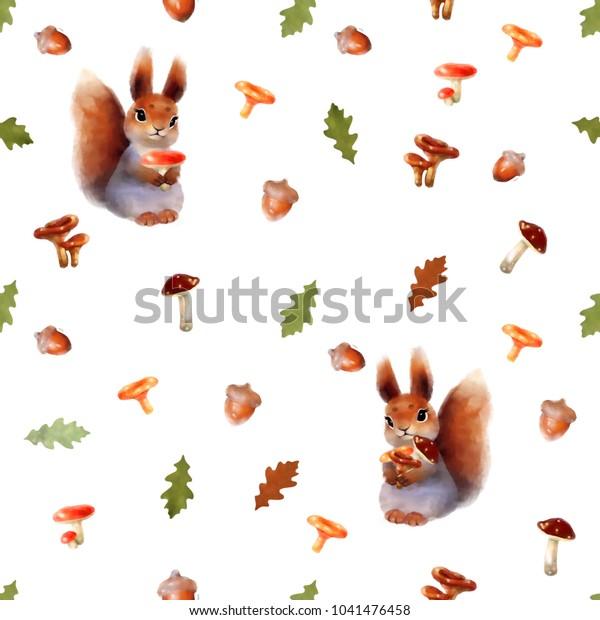 Seamless Pattern Squirrel Oak Leaves Mushrooms Stock