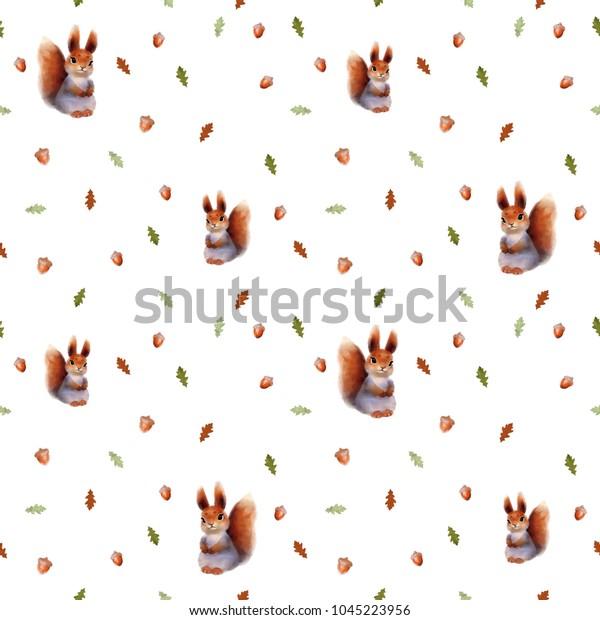 Seamless Pattern Squirrel Oak Leaves Acornscute Stock
