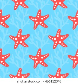 Seamless pattern with starfish. Can be used for cards, posters, invitations, party decorations, packaging paper, gift wrapping, scrap booking, textile, web backgrounds and more.