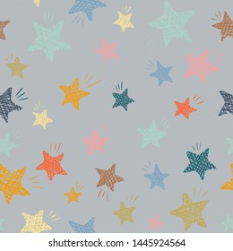 seamless pattern of stars.  used in textile production, printing on paper, labels.  Gray.  illustration.