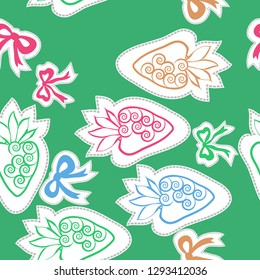 Seamless pattern of  strawberry , bows, leaves, spirals, dashed lines, labels. Hand drawn.