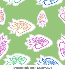 Seamless pattern of  strawberry , leaves, spirals, dashed lines, labels. Hand drawn.