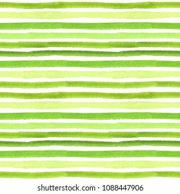 Seamless pattern of stripe. Striped pattern. Watercolor pattern. Green, natural. Grass, watermelon. Isolated.