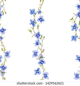 Seamless pattern strips of Veronica flowers painted in watercolor. A delicate strip of blue.
